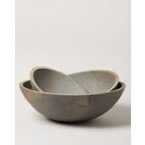 "Crafted Wood Bowl 12"" Grey"