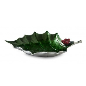 Holly Sprig Bowl Emerald 17""