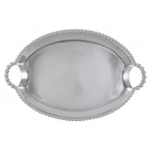 Pearled Handled Oval Tray Lg