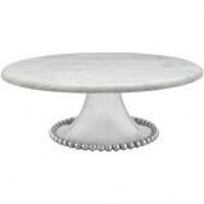 Pearled Marble Cake Stand Lg